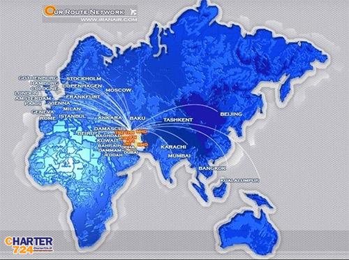 مسیرهای پروازهای بین المللی ایران ایر