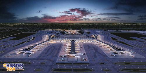 نمایی از باند و ترمینال اصلی فرودگاه جدید استانبول
